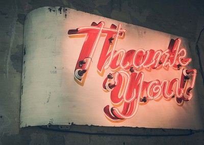 neon sign thank you red