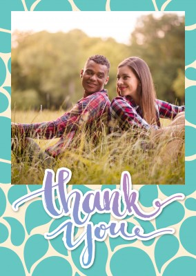 thank you with green beige drop-pattern in the back