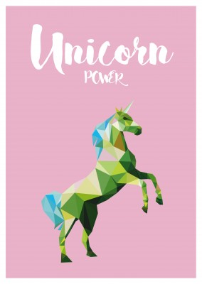 Unicorn illustration in green on pink background, unicorn power–mypostcard