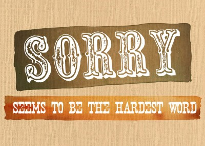 Sorry seems to be the hardest word Entschuldigung Postkarte
