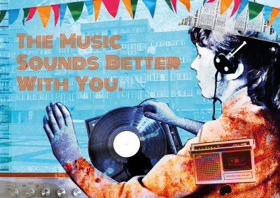 vintage collage postkarte the music sounds better with you