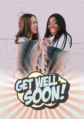 get well soon in Superhelden Schrift