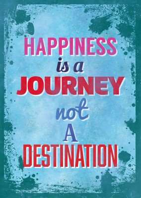 Saying happiness is a journey not a destination in different colours and fonts on a splash-patterned blue background