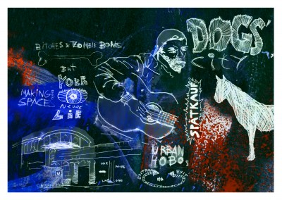 Belrost Collage with illustration of dog, hobo, Berlin subway
