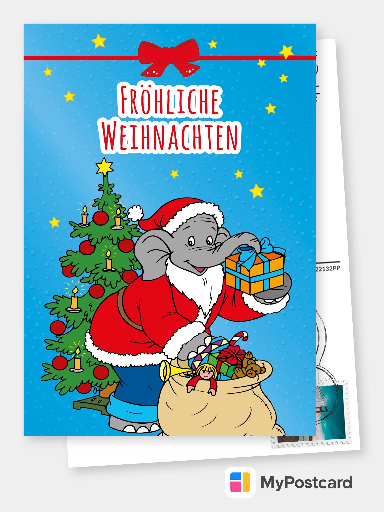 benjamin blümchen  weihnachtskarte  frohe weihnachten 🎅🎄