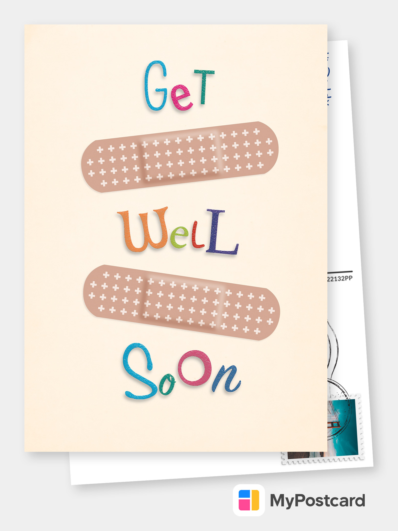 Sticking plasters Get well soon card sticking plasters  cute get well card  healing wishes card  feel better soon card  get well card