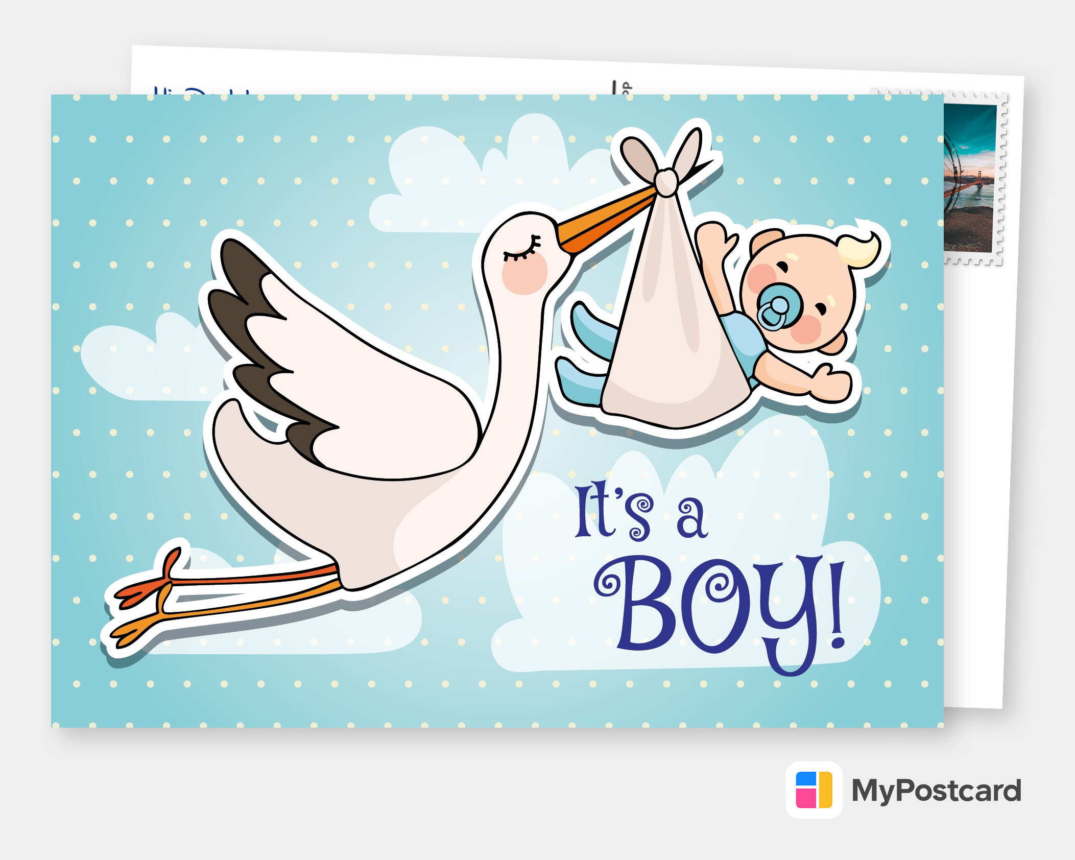 Stork Boy Baby Family Cards Send Real Postcards Online